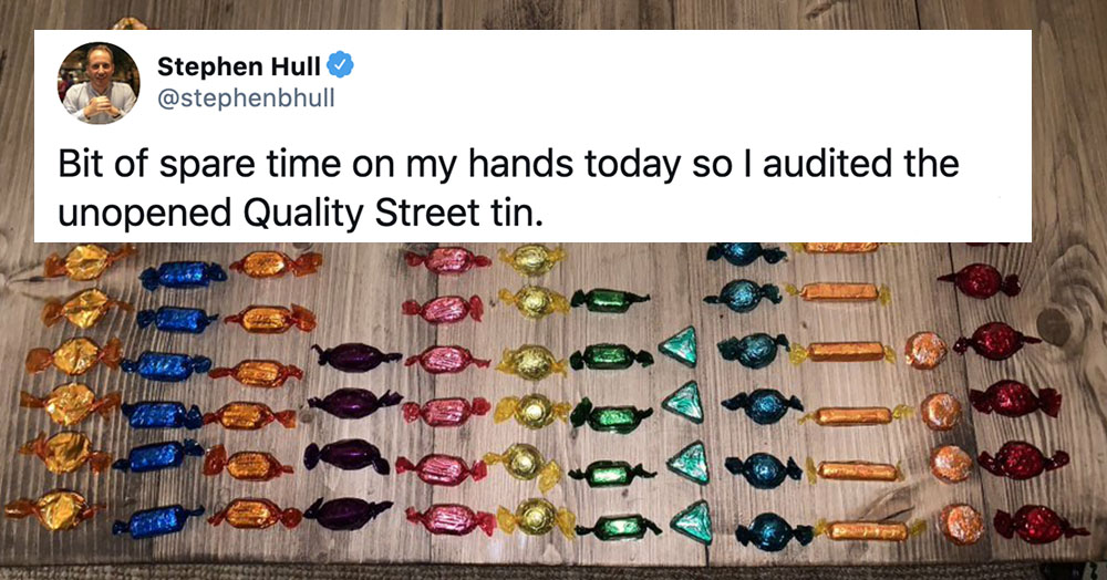 A man audited his Quality Street tin and it's started a huge online debate