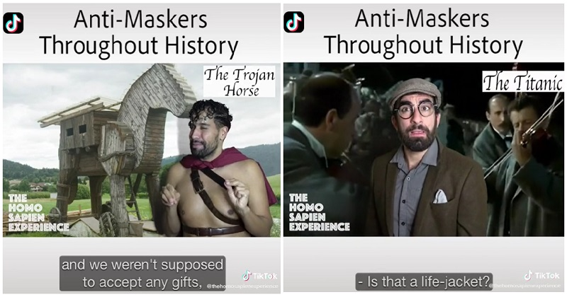 'Anti-maskers throughout history' is a hilarious takedown of the covidiot tendency - the poke