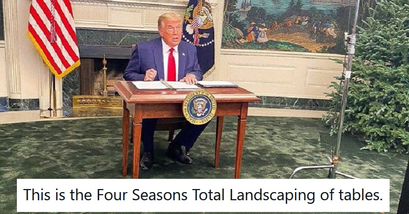 The 17 funniest things people said about Trump and his tiny table