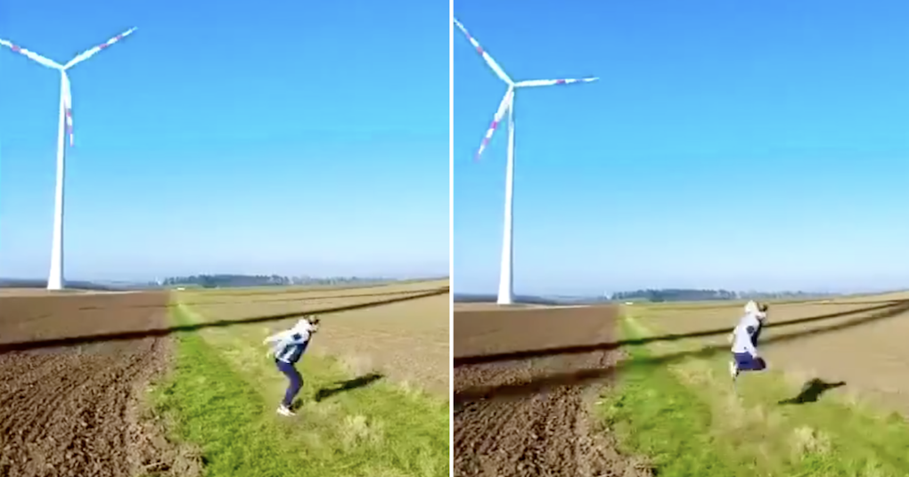This woman messing around with a wind turbine shadow has the perfect payoff
