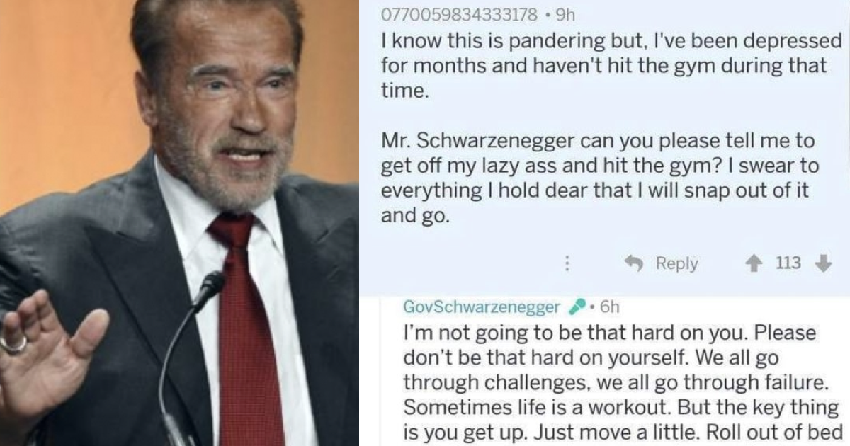 People loved Arnold Schwarzenegger's advice for this person who's not up felt up to going to the gym