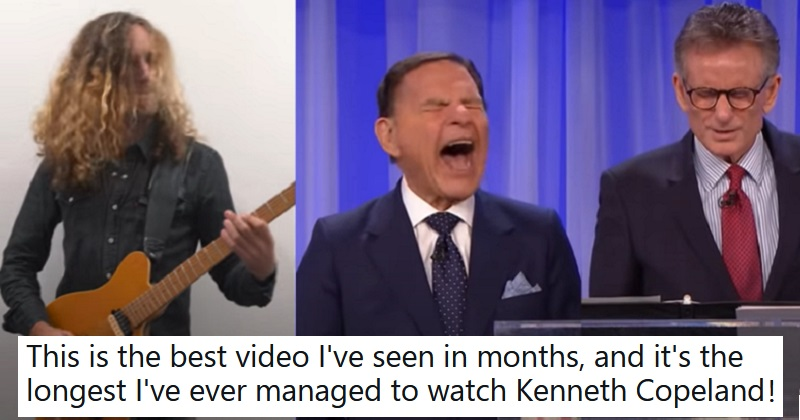 This televangelist's rant works so much better with a heavy metal backing track - the poke