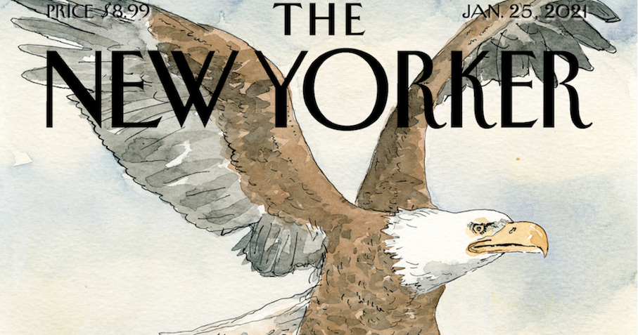 The final New Yorker cover of Trump's presidency gives him the perfect send-off - the poke