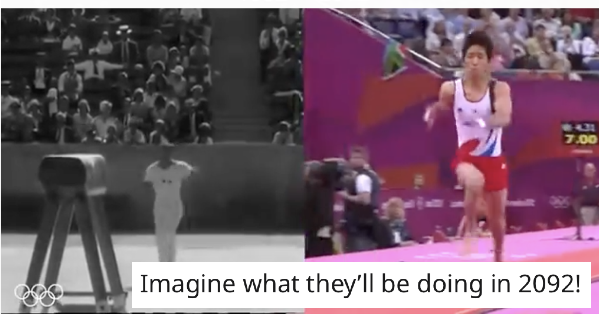These Olympic gold medal vaults 80 years apart went viral because the difference is so astonishing - the poke