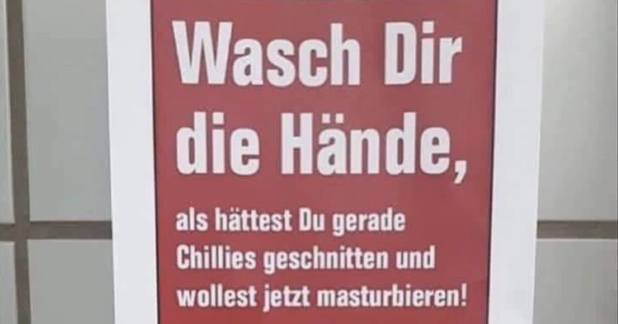 This German sign telling people to wash their hands properly really isn't messing around - the poke