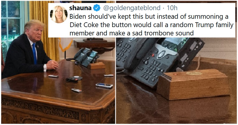 The 14 funniest reactions to the news that Trump had a Diet Coke button in the Oval Office - the poke