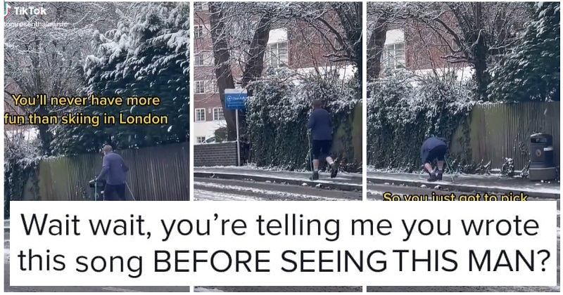 This guy trying to ski in London is made even funnier by the accompanying song - the poke