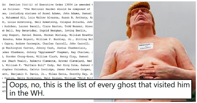 15 perfectly sculpted responses to Trump's list of 244 planned statues - the poke