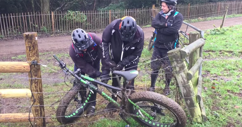 These cyclists trying to free their bike from an electric fence will never get old - the poke