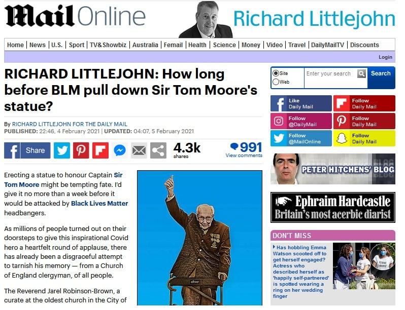 Richard Littlejohn - How long before BLM pull down Captain Tom Moore's statue?