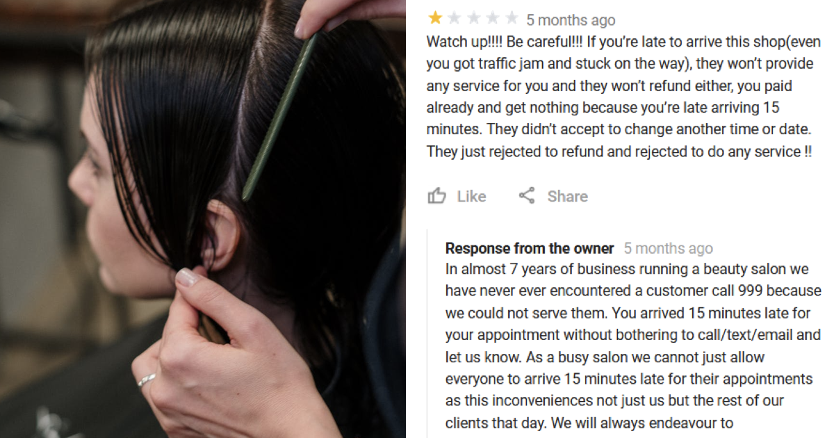 This one-star reviewer called the police after she was late for a haircut and got entirely the response she deserved - the poke