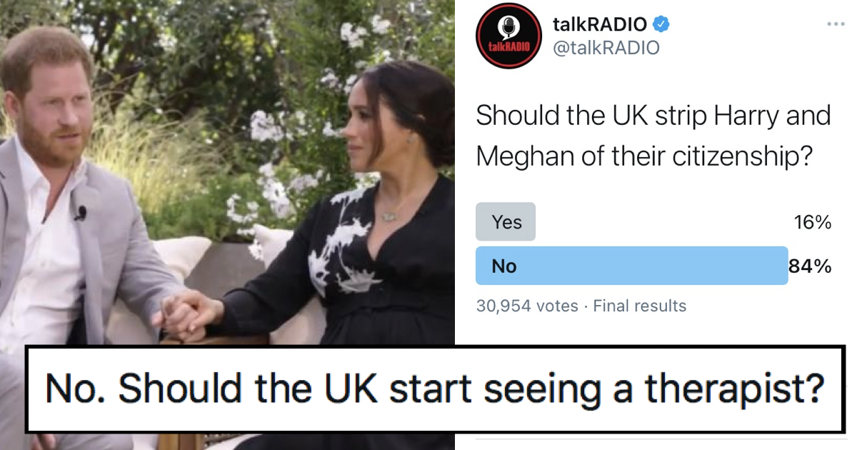 Talk Radio asked if Harry and Meghan should lose their UK citizenship and these responses say it all - the poke