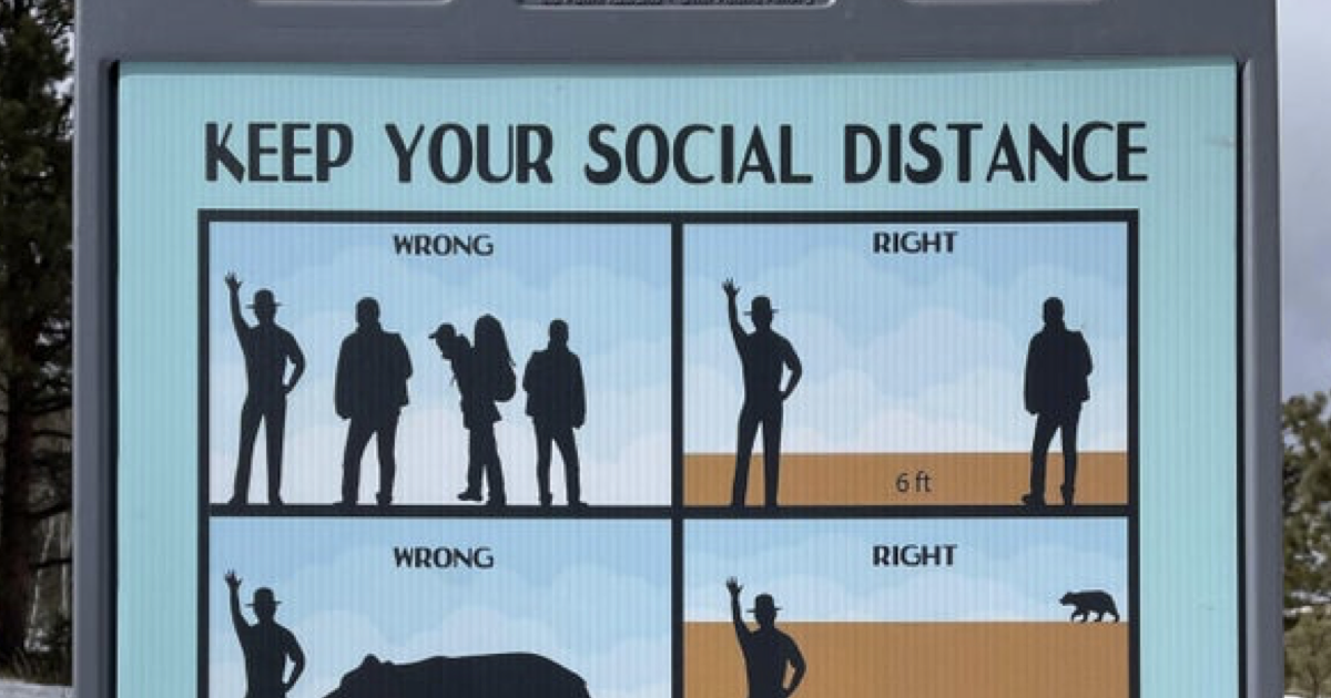This national park's social distancing sign is funny AND effective - the poke