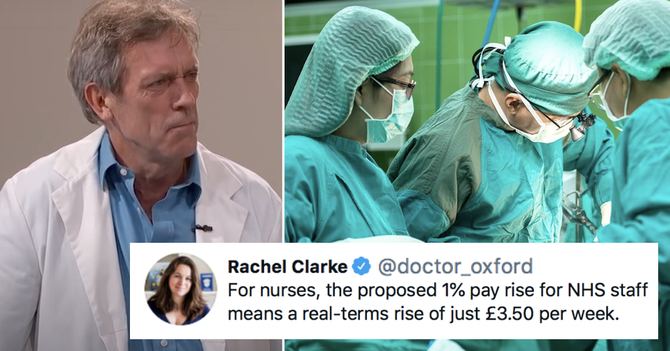 Nurses are being given a 1% pay rise and Hugh Laurie's damning response went viral