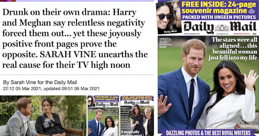 Sarah Vine shared these 'joyously positively front pages' about Meghan Markle and this is the perfect 3-part response - the poke