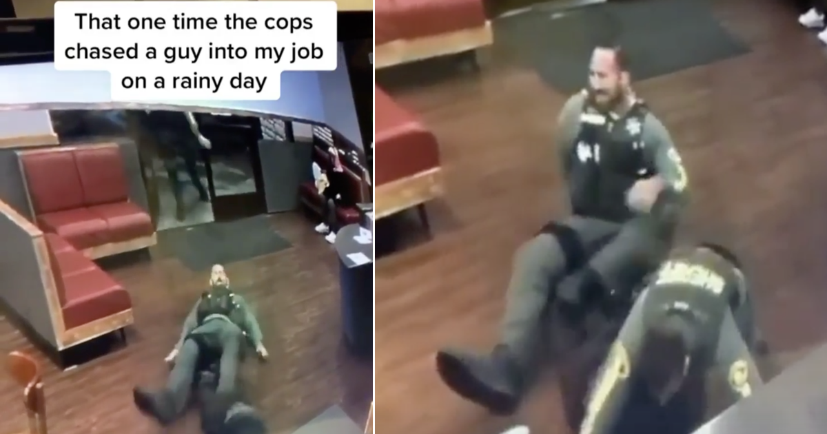 These cops chasing a suspect onto a wet floor is pure slapstick - the poke