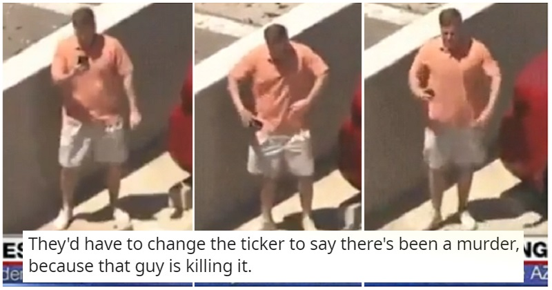 This man spotted himself in a live news report and broke out his best dance moves - the poke