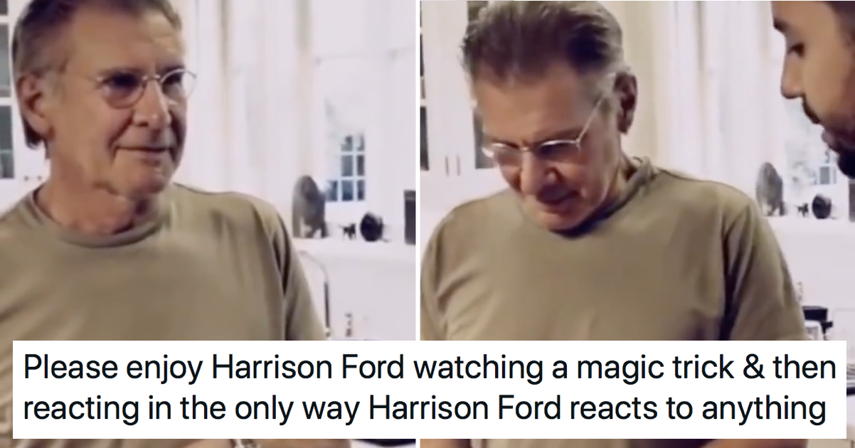 Harrison Ford reacting to this David Blaine trick is 60 seconds very well spent