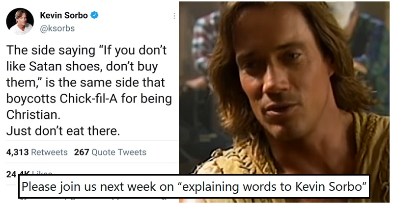 Kevin 'Hercules' Sorbo got shot down in flames with one hilarious response