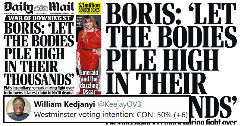 Dominic Cummings' shocking accusation against the PM made an unexpected Mail headline