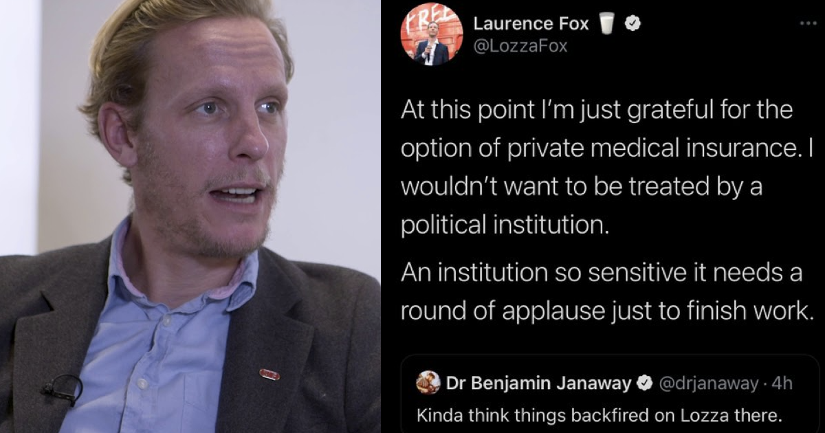 Laurence Fox trolled the NHS and his magnificent self-own earned a standing ovation