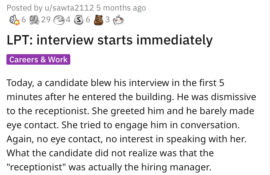 This job interview started with the receptionist and people loved it