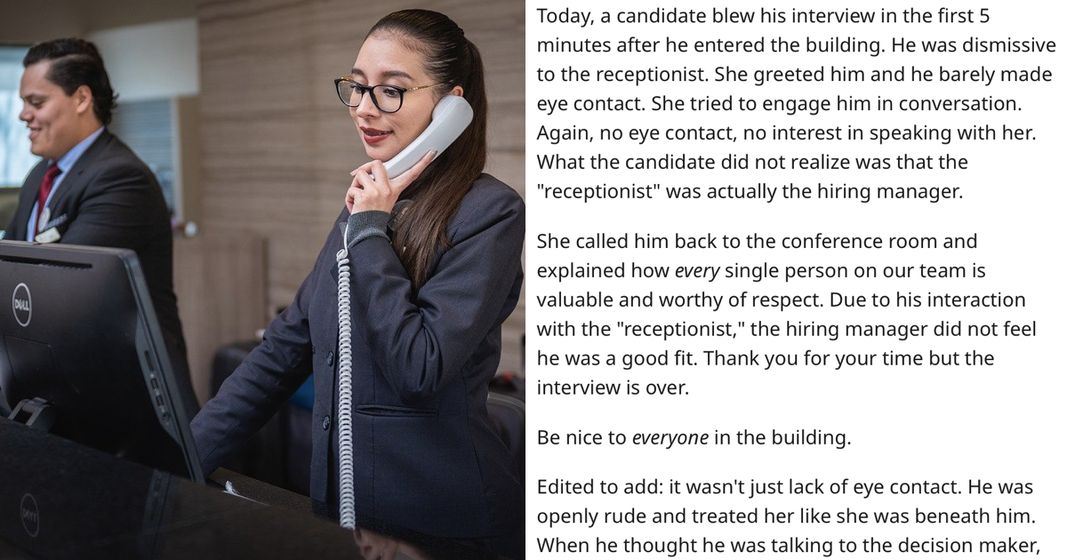 This job interview started with the receptionist and people loved it - the poke