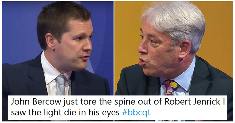 John Bercow owning Robert Jenrick into next week is one for the Burn Awards
