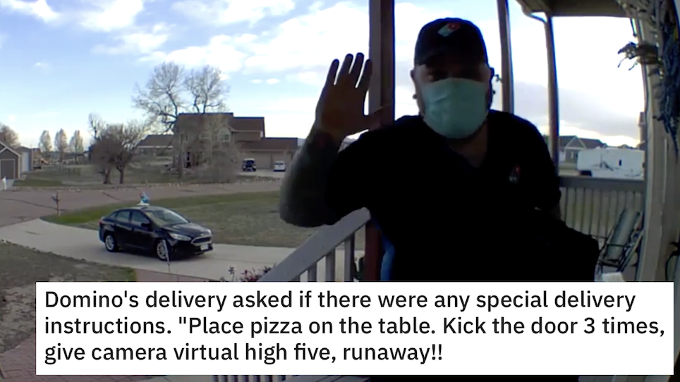 This pizza delivery driver went viral after he followed the instructions in some style - the poke