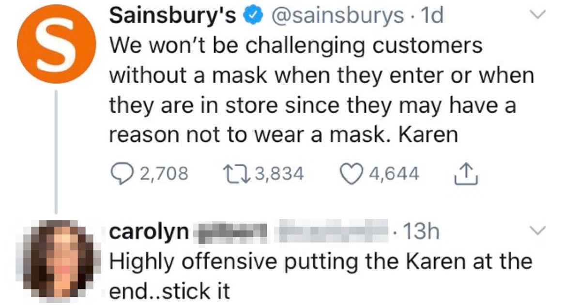 The comeback to this Sainsbury's 'Karen' complaint is A++ - the poke