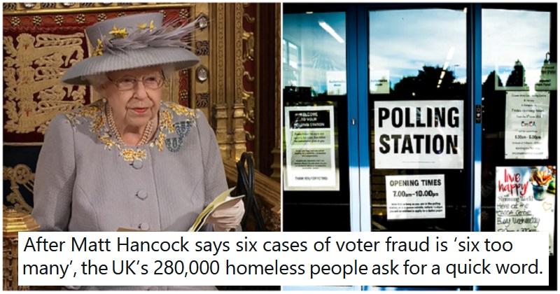 The Queen's Speech announcement on voter ID did badly in the exit polls - the poke