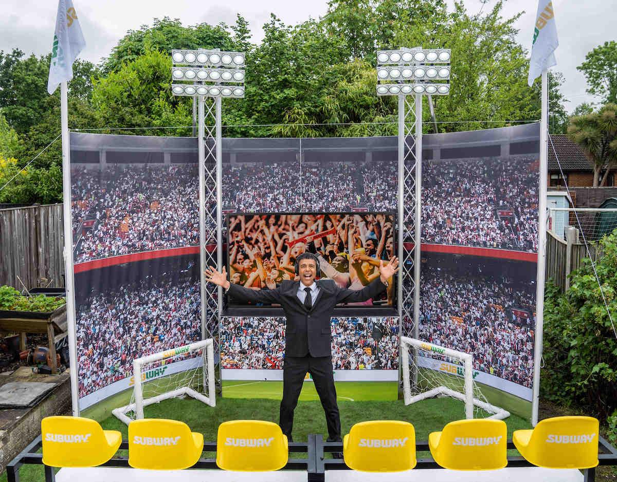 Chris Kamara unveils DIY Euros stadium in fans' garden