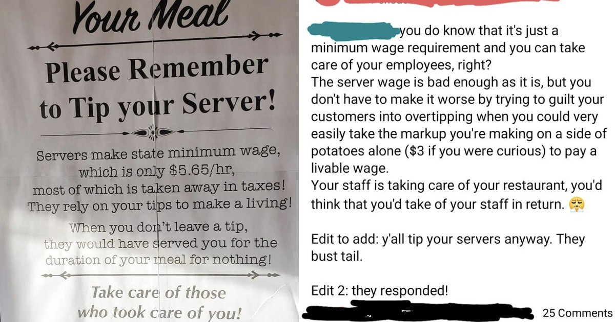 A restaurant bit back when someone criticised their 'tips' sign and it didn't end well for them - the poke