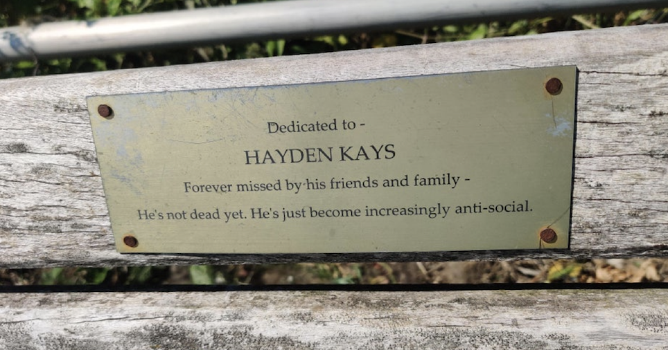 Bench plaque of the week - the poke