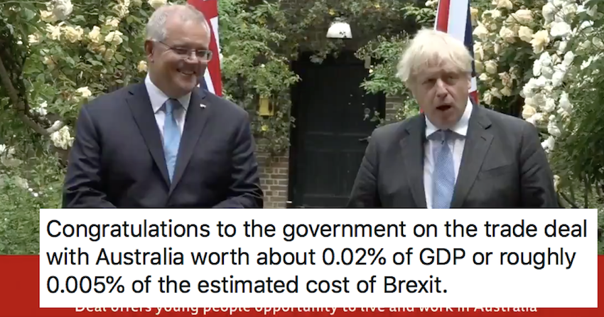 Boris Johnson's Australia trade deal with save us 'up to' £1.22 a year each – only 5 responses you need - the poke