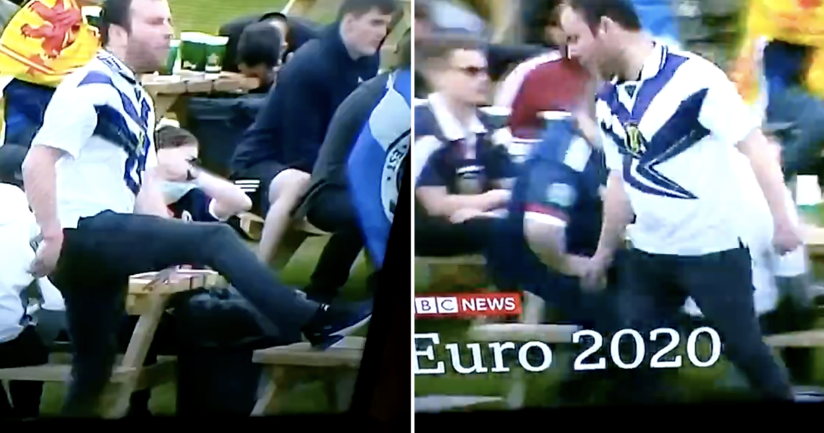 This angry Scottish football fan trying to kick a table – and missing – is simply perfect