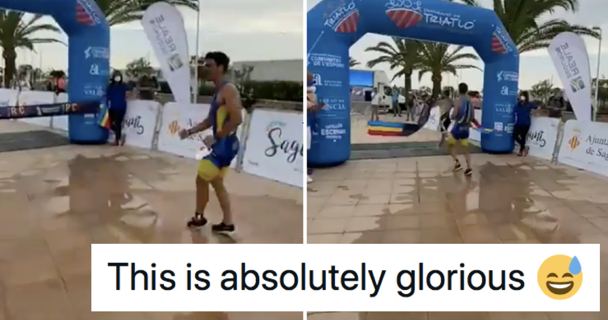 This triathlon runner celebrating too early is a supremely satisfying fail