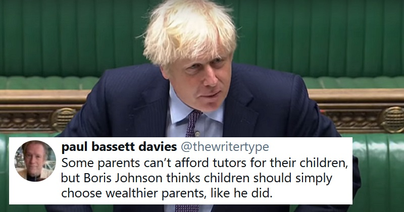 Boris Johnson said people could afford private tutors because they work hard – 'must try harder'