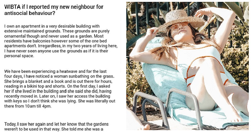 Is this person an asshole for wanting to report a neighbour for sunbathing? - the poke