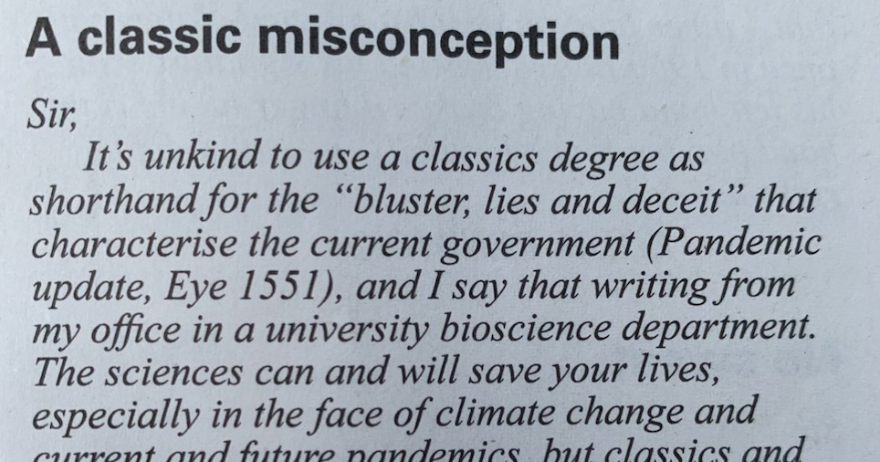 A classic takedown of Boris Johnson in the readers' letters of Private Eye - the poke