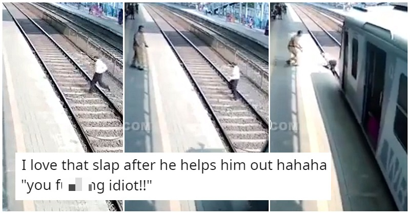 Facepalm of the Day goes to this idiot taking a chance on a railway track - the poke