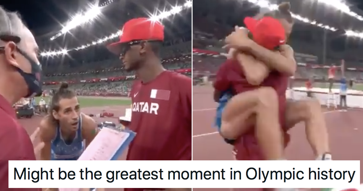 These two high jumpers agreeing to share gold is our favourite Olympics moment so far - the poke