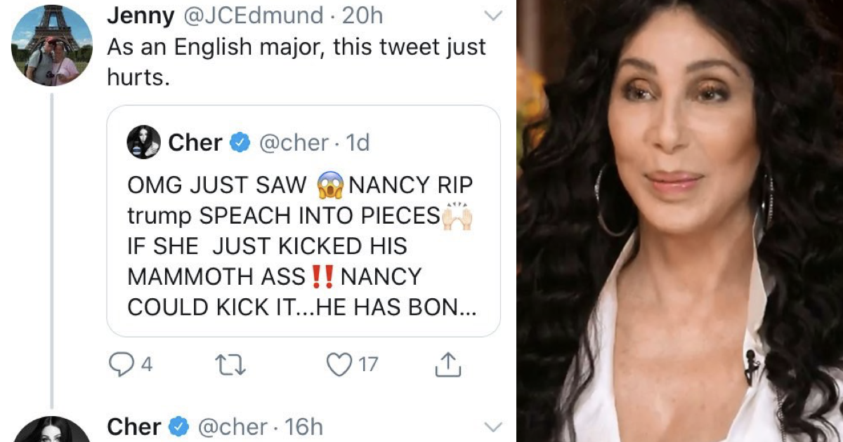 This Cher takedown of an 'English major' went viral all over again and it hits every note - the poke