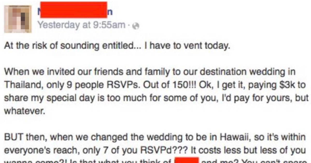 This entitled bride's mounting fury at her no-show friends just gets better and better