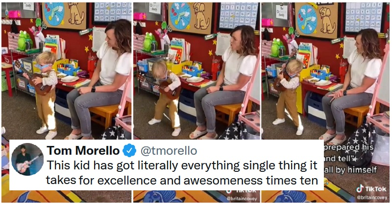 This little boy rocking out for show and tell is the pick-me-up we all need