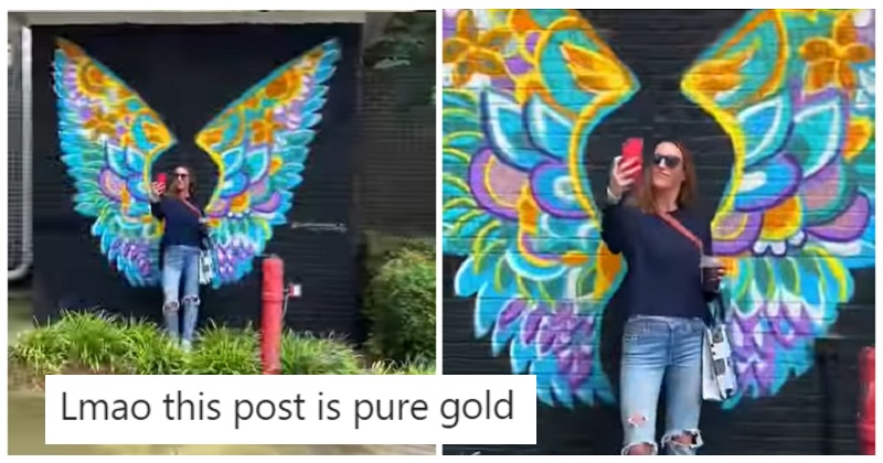 This woman posing with wings wasn't the only influencer in the area - the poke