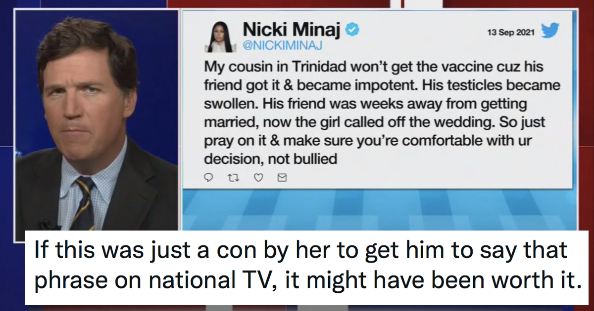 Tucker Carlson reading out Nicki Minaj's 'swollen testicles' vaccine tweet is unintentionally hilarious