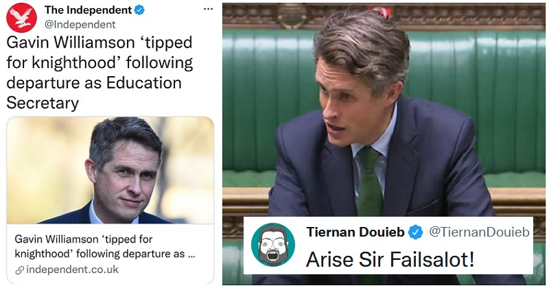12 peer reviews of the rumoured knighthood for Gavin Williamson