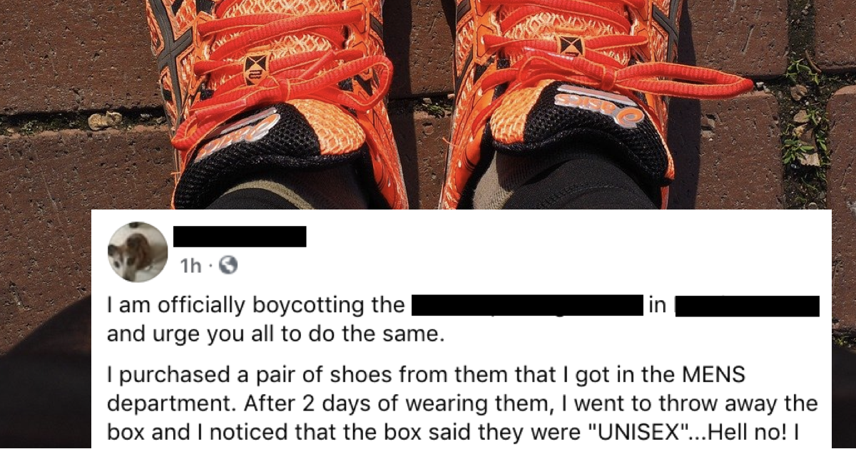 The mounting fury of this guy on finding out he'd bought 'unisex' trainers is quite the read