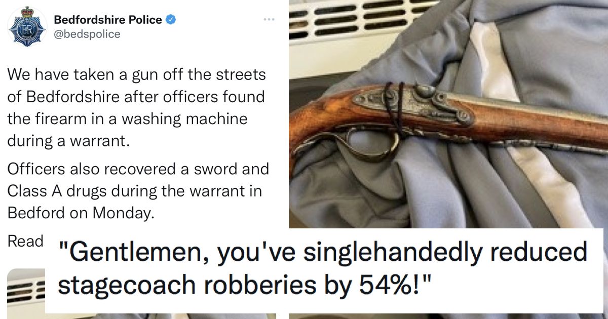 This gun taken 'off the streets' by Beds police caused no end of mirth – 17 on-target responses - the poke